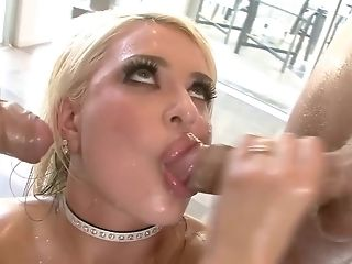Nice platinum-blonde adores two fat man sausage and gets drilled double penetration fashion in lubricated up MFM anal invasion three way porntube