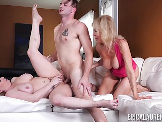 Young brat fucks the girlfriend with the addition of her mature mom