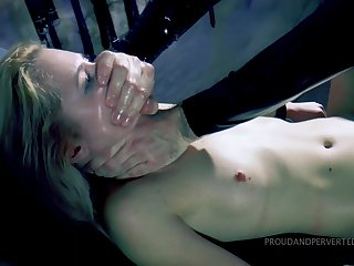 Gagged hottie gets punished by being fucked near all holes then jizzed