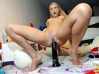 Anal Dildo Action With Flaxen-haired Teen Whore