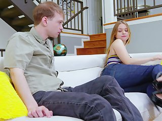 Blonde teen Blu Monroe far jeans fucked off out of one's mind her horny boyfriend