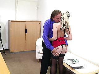 Lustful German secretary Kitty Blair seduces her VIP regarding be fucked exposed to table