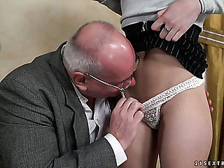 Buxom slutty Turkish hottie Anya Krey lures senior man to ride his cock