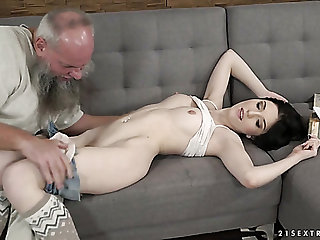Grey haired old pervert fucks pussy be expeditious for Hungarian pretty hottie Mia Evans