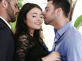 Fine and sensual brunette babe seduced and fucked by two young and handsome men