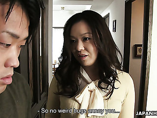 Sunless Asian milf blows dick of a nerdy young man for cumshot