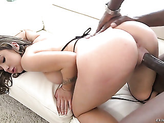 Pussy lips of taking brunette girl gets stretched by strong BBC