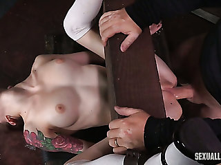 Frying BDSM milf licks pussy for a pallid restrained girl with the addition of bones her with strapon
