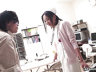 Aroused doctor is busy near fingering wet pussy of kinky nurse b like Mika Kojima