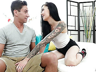 Long legged tattooed sexy gal Marley Brinx loves to play with pronounced unearth