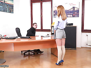Naughty chestnut haired chick Jenny Manson gets busy with riding strong cock