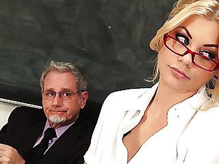 Desirable teacher Riley Steele fucks Principal in his office