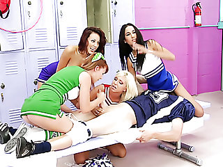 Jaelyn Fox encircling the addition of three more cheerleaders are busy encircling teasing chubby cock