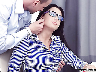 Busy gaffer hottie in glasses Chanel Lux gets disturbed with hot analfuck