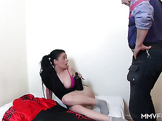 Ordinary slut with flushing cheeks gets fucked lay on from in arrears