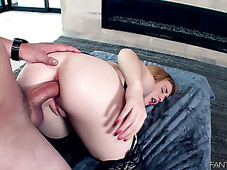 Buxom sweet Bonnie Grey takes firm horseshit secure her pink asshole