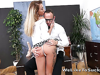 Sales luggage manager Katrin Tequila offers some new dildos to her kingpin