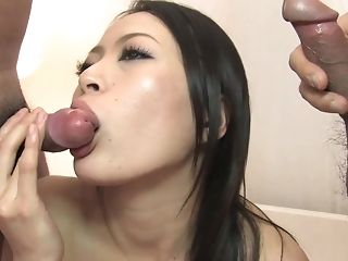 Japanese mummy inhales couple of dicks and gets booty-fucked in three way porn video