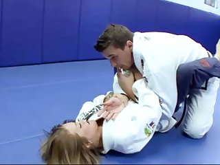 Ultra-Kinky Karate college girls smashes with her trainer certificate a superb karate session