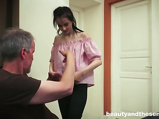 Dark haired honey knows how to convenience say no to neighbor next door, when he struggles with his wifey