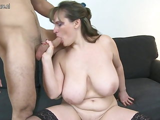Mam with big saggy tits fucks young boy