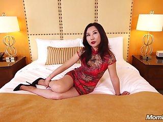 Mature Asian MILF Fucks White Load of shit