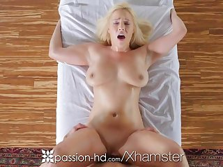 PASSION-HD Busty blonde Kylie Page oiled massage added to fucked