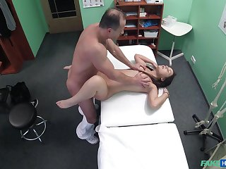 Doctor check younger babe with his successfully dong