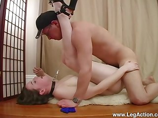 Submissive Emily H. led around on a leash winning a hard fuck with Master