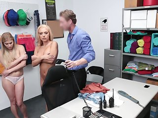 Shop lifters gets fucked by the security manager then jizzed